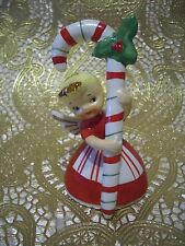 Vintage Napco Christmas Angel Girl Holds Holly Candy Cane w/ O Tag Bell Figurine