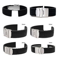 18-24mm Adjustable Waterproof Silicone Rubber Watch Strap Band Deployment Buckle