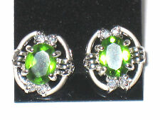 Sterling Silver Women Earrings Peridot CZ 925 sterling silver