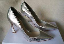 NIB Christian Dior CD Classic Songe Pump Silver Crumple Leather 37.5 10mm Shoes