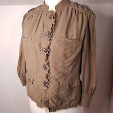 Ghost of London Top Size L Large 100% Silk Blouse Shirt Khaki Olive
