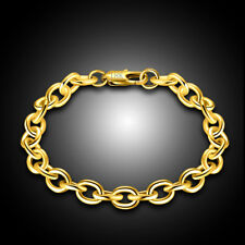 18K YELLOW GOLD FILL 8MM ROLO LINK 19-20CM  BRACELET LADIES GIRL MAN