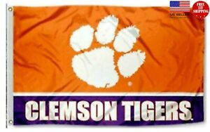 Clemson Tigers Football Flag 3x5 New Fast USA Shipping Clemson Tiger Banner