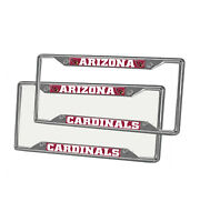 New 2pcs NFL Arizona Cardinals Car Truck Chrome Metal License Plate Frames