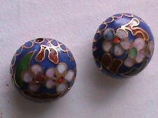 Vintage Cloisonee 24 Big 16 MM Round Pancake Beads Blue Floral (188