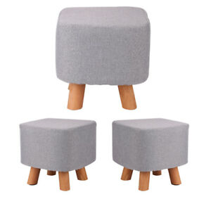 Luxury Padded Wooden Footstool Ottoman Square Stool Wooden 4 Legs Brand new