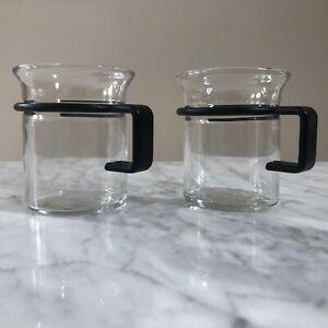 Pair of Bodum Bistro Black Handle, Clear Glass, 6 oz Coffee Mugs / Espresso Cups