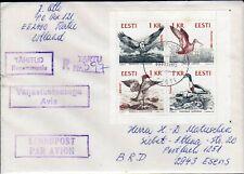 Estland Brief mit HBl. aus MH 1 Naturschutz Vögel (3766)