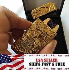 Gold Dragon Dual Arc Electric USB Lighter Rechargeable Flameless Windproof Tesla