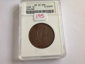1933 Ireland Penny ANACS MS 62 Brown