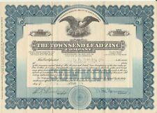 The Townsend Lead Zinc Company - Stock Certificate 1931 Colorado Scripophily
