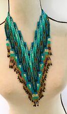 Beautiful Native American Beaded Necklace, Huichol, Beaded Bib, Collar