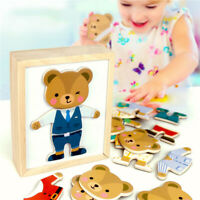 DIY Wooden Montessori Bear Jigsaw Puzzle Game Kids Educational Toys Gift