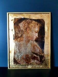 Handcrafted author's reproduction picture on glass in gold potal, Donato Creti.
