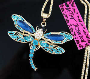 Betsey Johnson Fashion Butterfly Necklace Pendant Rhinestone Crystal Long Chain