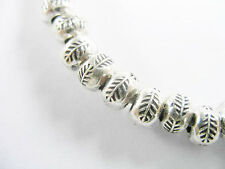 Karen Hill Tribe Silver 10 Leaf Printed  Rondelle Beads 6x4.5mm.