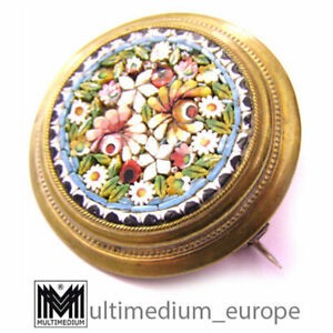 Historismus Millefiori Mikromosaik Brosche um 1860 Messing micro mosaic brooch