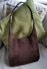 Gucci Vintage Suede Tote Hobo Shoulder Bag Brown