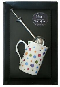 Spots bone china mug with stainless steel tea infuser gift boxed