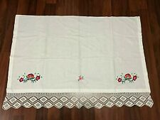 OLD VINTAGE EMBROIDERY WHITE COTTON CURTAIN+LACE-HANDMADE-EMBROIDERY-1950-CUTE