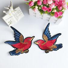 2pcs Bird Embroidery Brooch Pin Fabric Sticker T-shirt Jacket Clothes Applique