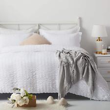 Nexhome Duvet Cover Set Queen Size White Seersucker 100% Washed Microfiber Zippe