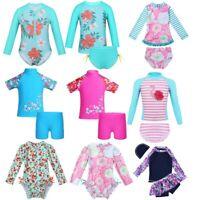 Girls Kids Swimsuit Rash Guard Flower UV Protective Beach Swimwear Sunsuit 0-12Y