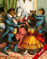 HIGH SOCIETY CATS DANCE PARTY CAT PET ANIMAL ART PAINTING REAL CANVAS PRINT