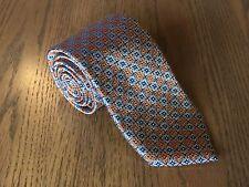 Men's Zimni Sport Italy Italian 100% Silk Tie Necktie Orange & Blue Starbursts