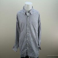 Peter Millar Blue White Long Sleeve Button Front Check Casual Shirt Mens 2XL