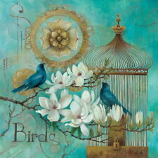 Blue Birds and Magnolia Art Poster Print by Elaine Vollherbst-Lane, 12x12