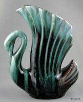 Blue Mountain Pottery Swan Wing Feather Vase 6in Early Glaze BMP signed Canada