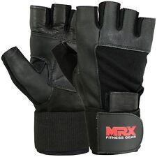 Men's Weight Lifting Gloves Gym Training Workout Grip Glove Long Wrist Strap MRX