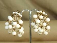 VTG Lisner Brass Faux Pearl & Crystal Waterfall Chandelier Dangle Clip Earrings