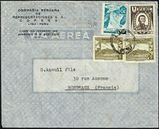 2896 Peru To France Air Mail Cover 1950 Lima - Bordeaux