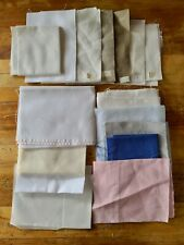Lot of 16 Linen Cross Stitch, Embroidery Fabric Various cts & szs some lg pieces