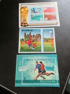 STAMP MINISHEETS x 3, VARIOUS FOOTBALL, ALL MNH - EXCELLENT