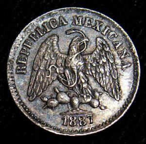 Mexico: Silver 1887 ZS Z 5 Centavos Zacatecas. Choice AU