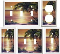TROPICAL PALM TREE BEACH PARADISE HOME DECOR LIGHT SWITCH OR OUTLET COVER V668