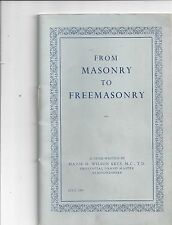 UK., From Masonry to Freemasonry by Maj. H Wilson Keys, 1969 Lot 51
