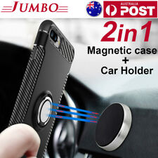 Magnetic Shockproof Case Cover with Ring Car Holder for iPhone XS X 8 7 Plus OZ