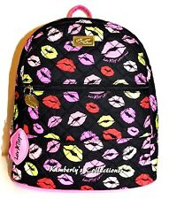 Luv BETSEY JOHNSON Black Backpack Bag Pucker Up Kisses Quilted School Tote NWT
