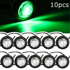 10Pcs 12V 1'' UNIVERSAL CAR VAN GREEN SMALL ROUND LED BUTTON MARKER LIGHTS LAMPS