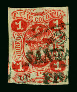 "COLOMBIA 1866  Coat of Arms  1p rose  Sc# 49 used SANTANDER FRANCA"" strike"