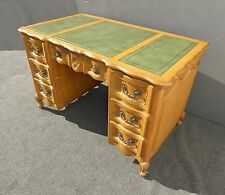 Vintage French Provincial Green Leather Top Knee Hole Wood Writing DESK