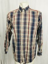 Ariat Western Shirt Mens Large Check Red Gray Cream Contrast Stitching