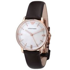 Armani Womens Watch AR1601 Mother of Pearl Dial Brown Leather Strap COA RRP£279