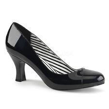 Jenna-01 Pleaser Women Court Shoes 7cm Heel Schwarz Cream Lacquer Leather LOOK Black Varnish EUR 46