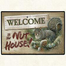 """DOOR MATS - """"WELCOME TO THE NUT HOUSE"""" SQUIRREL DOORMAT - 27"""" X 18"""" DOOR MAT"""