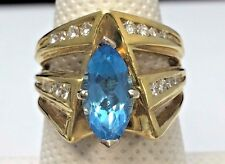 18k Yellow Gold Marquise Swiss Blue Topaz and Diamond Ring 2.50TCW INCREDIBLE